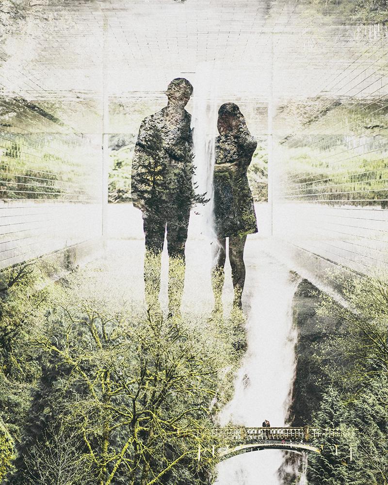 Portland Portrait Photographer - Double Exposure of Karen and Josh at Multnomah Falls