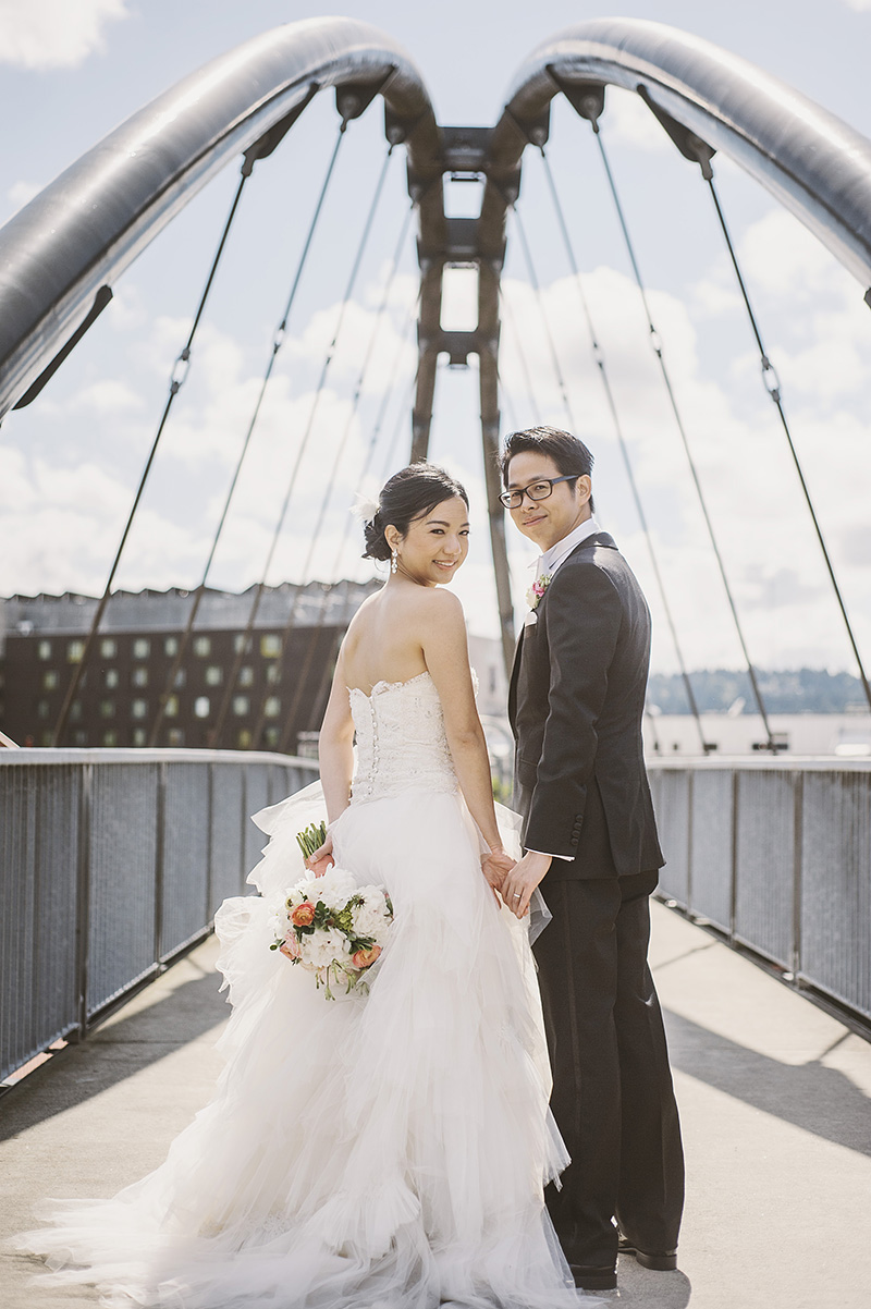 Oregon Wedding Photographer - Bride and Groom at the Union Station bridge