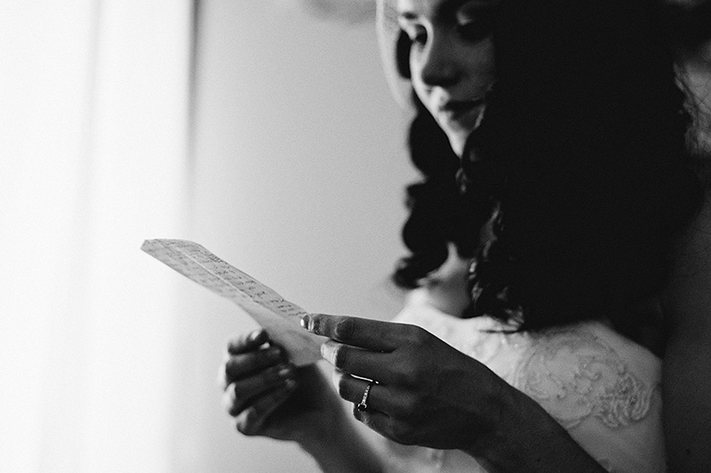 Arcata Wedding Photographer - Bride memorizing vows