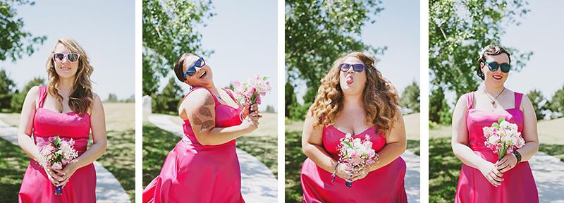 Arcata Wedding Photographer - Portraits of the Bridesmaids in sunglasses