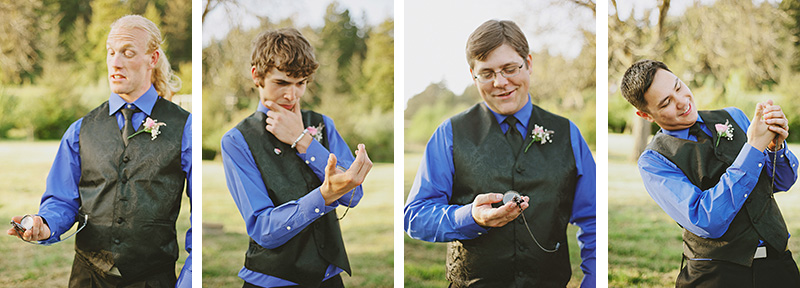 Arcata Wedding Photographer - Portraits of the Groomsmen with pocketwatches