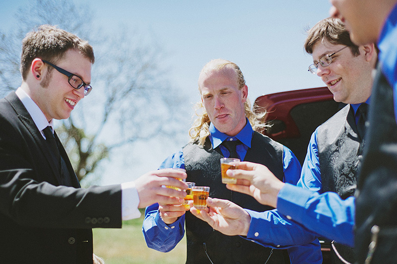 Arcata Wedding Photographer - Groomsmen taking whiskey shots before the ceremony