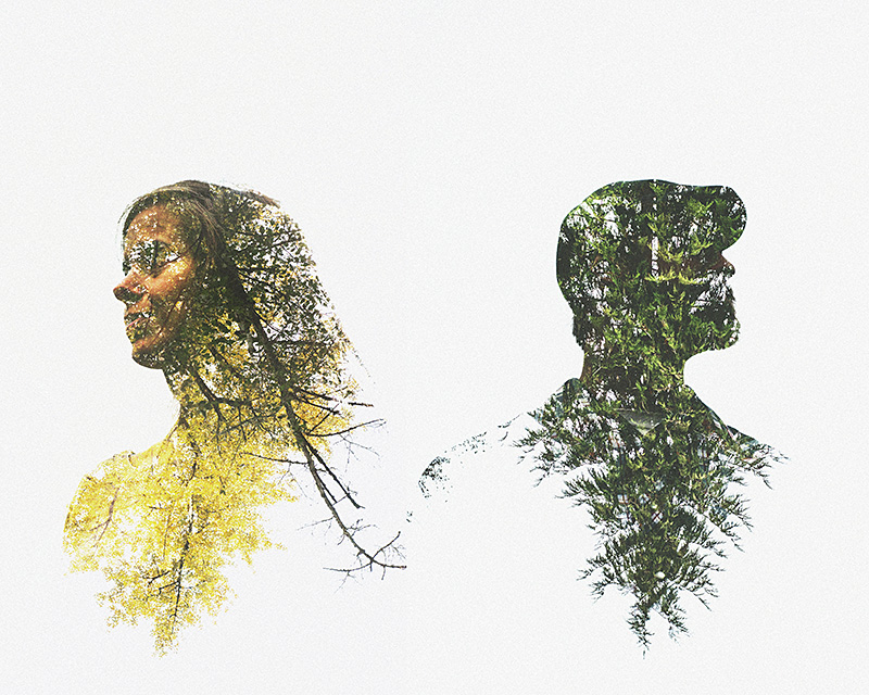 Double exposures in Photoshop - Silhouettes of a couple with trees overlayed