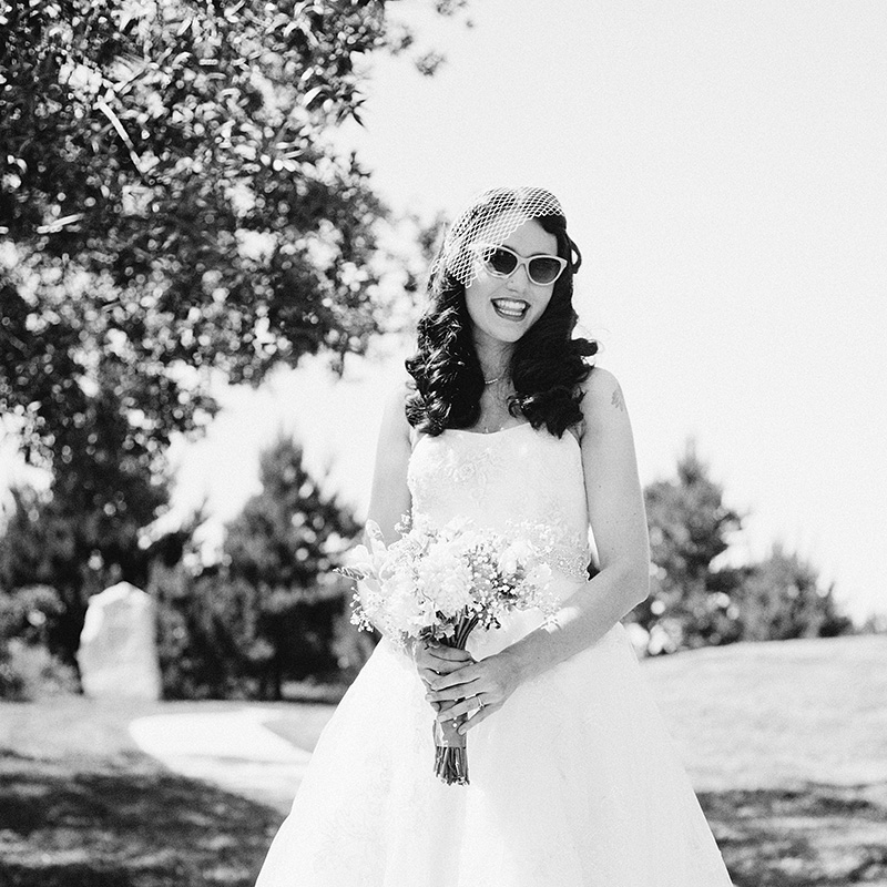 Humboldt Wedding Photographer - Violet's bridal portrait wearing vintage sunglasses