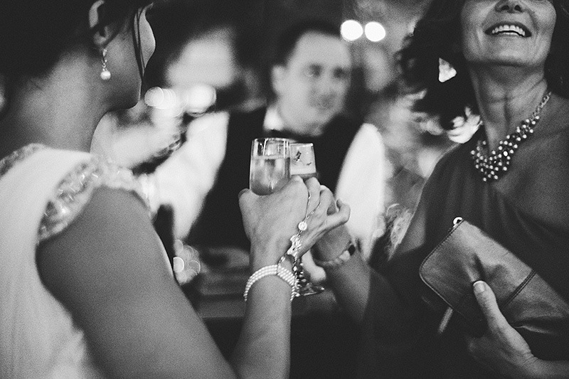 St. Petersburg Wedding Photographs - Bride getting a drink with her aunt at the Vinoy Hotel reception