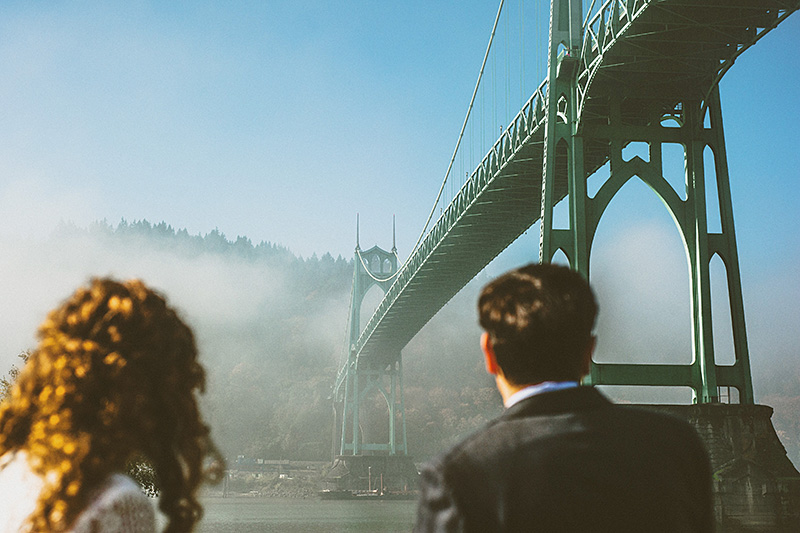 Portland Wedding Photographer - Eleanor and Max's elopement under the St. John's Bridge
