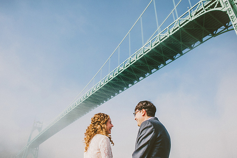Portland Wedding Photographer - Eleanor and Max's Cathedral Park elopement - Portrait under the St. John's Bridge
