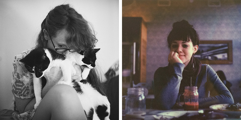 Portland Film Photographer - Left: Film Photograph of Jasmine with her cats, Right: Polaroid portrait of Jasmine Fitzwilliams