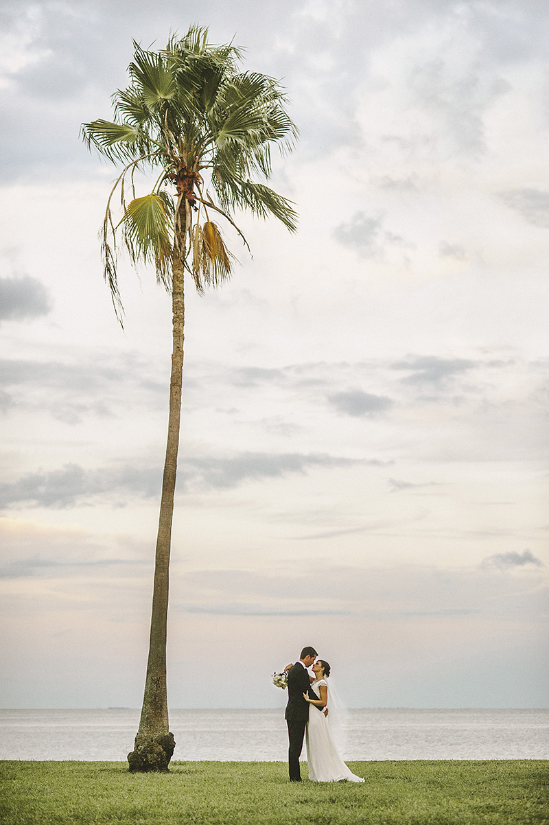 St Petersburg Wedding Photographer - Portrait of Bride and Groom under a palm tree in the Marina