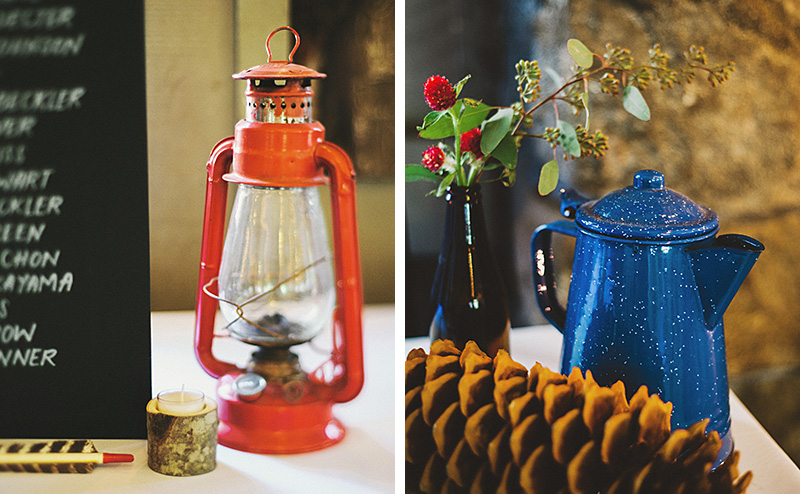 Summer Camp decorations: lamp, pine cone, camping tea kettle | Kate & Will's Camp Seely Wedding | Kim Smith-Miller