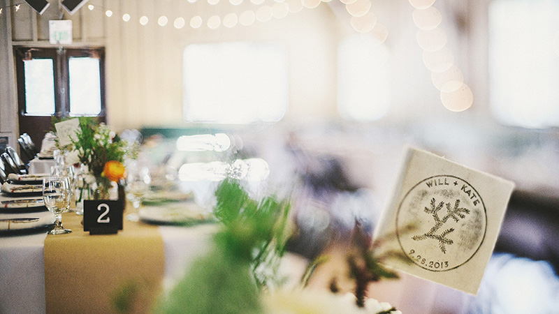 Reception hall table settings | Kate & Will's Camp Seely Wedding | Kim Smith-Miller
