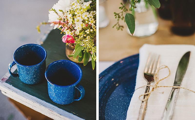 Blue camping dinnerware | Kate & Will's Camp Seely Wedding | Kim Smith-Miller