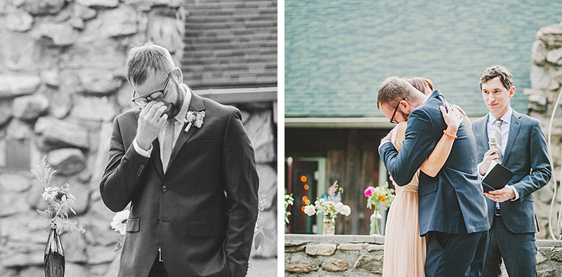 Groom getting choked up at ceremony | Kate & Will's Camp Seely Wedding | Kim Smith-Miller