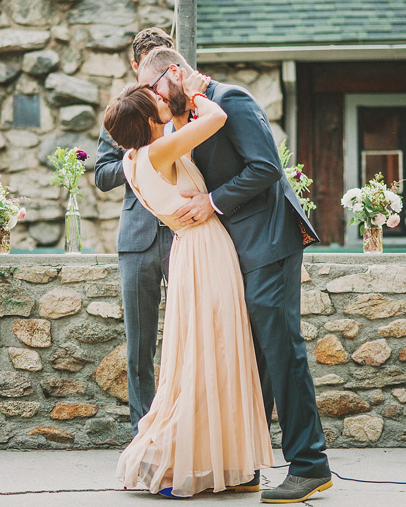 Bride and Groom's first kiss | Kate & Will's Camp Seely Wedding | Kim Smith-Miller