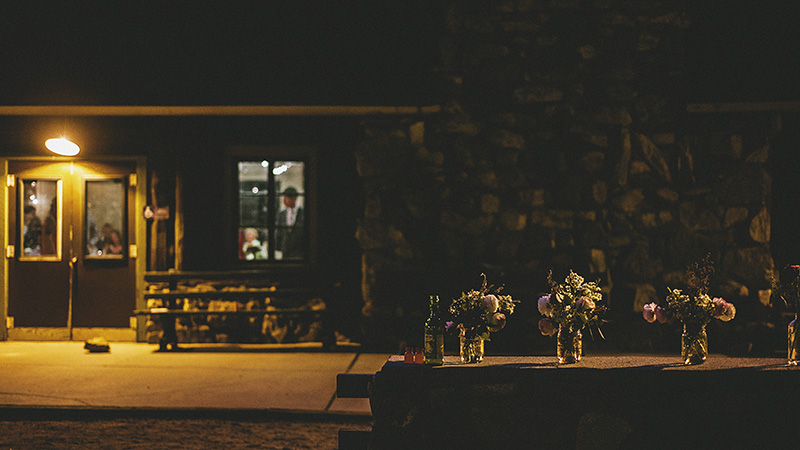 Night time shot of reception hall | Kate & Will's Camp Seely Wedding | Kim Smith-Miller