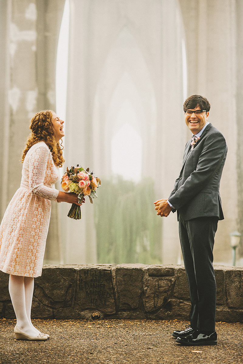 Eleanor and Max's Cathedral Park Elopement Ceremony in Portland, OR