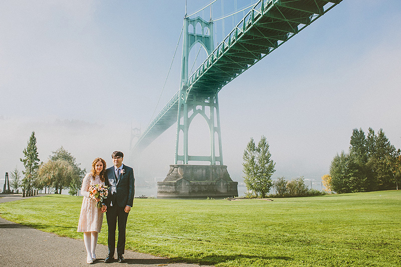 Portrait of Bride and Groom with the St. John's Bridge - Cathdral Park Elopement in Portland, OR