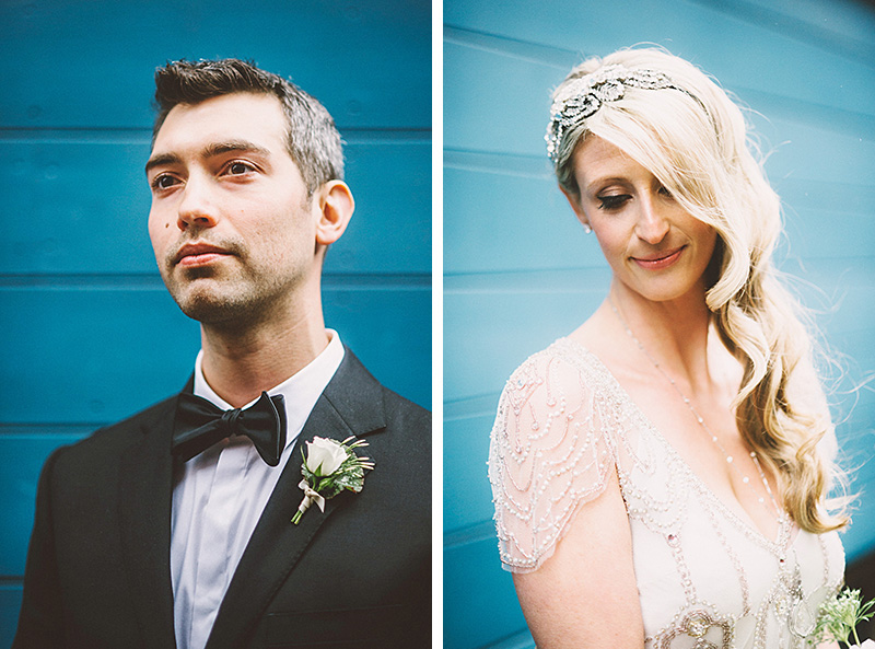 Portraits of bride and groom in the courtyard - Sodo Park Wedding Photographer