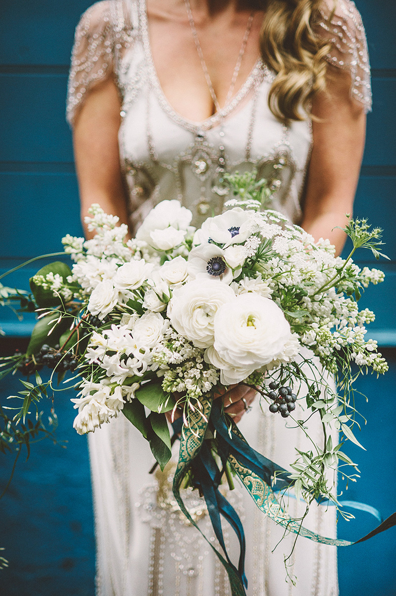 Portrait of bride holding bouquet - Sodo Park Wedding Photographer