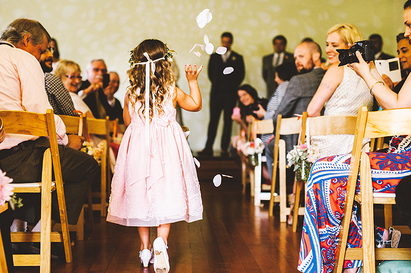 Flower girl at the Little Church PDX - Secret Society Wedding