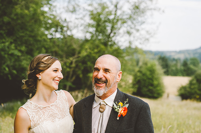 Bride and her father - Pendarvis Farm Wedding