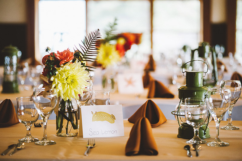 Table Settings at a Camp Westwind Wedding