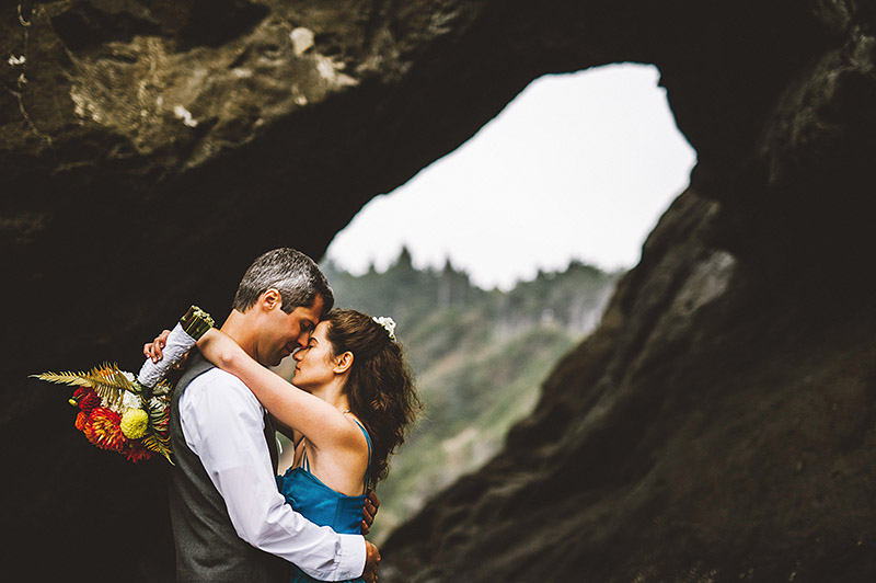 Portraits under the rock cliffs - Camp Westwind wedding
