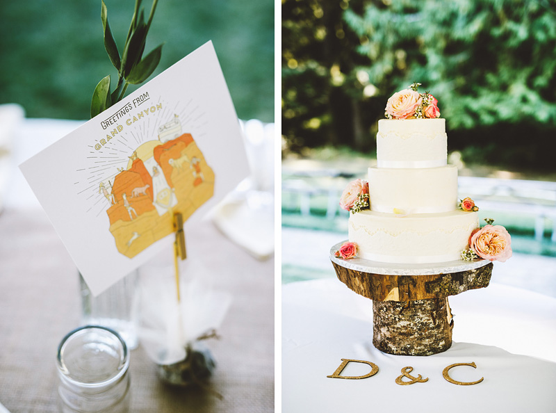 Cake and table decor from Crystal and Dylan's Nature Bridge Wedding