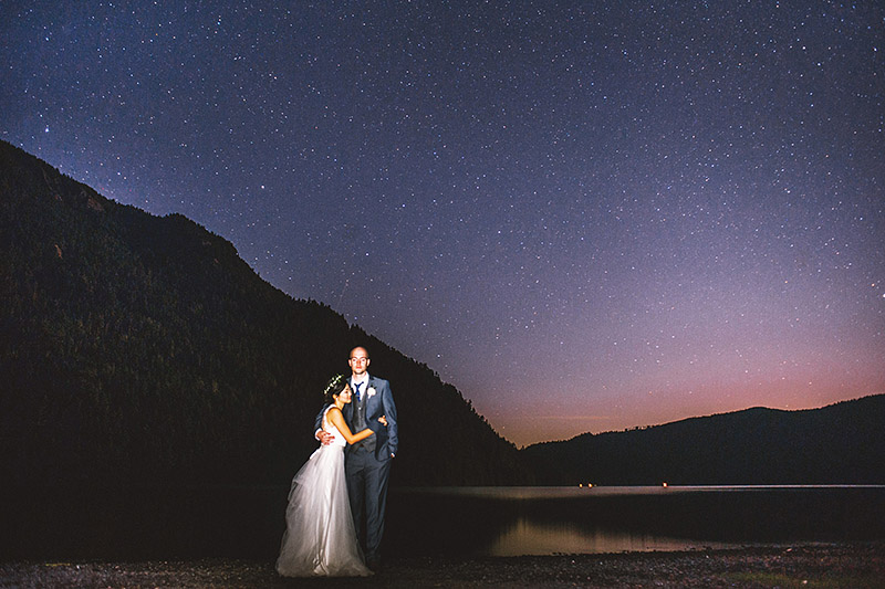 Starry portrait of Bride and Groom at Lake Crescent |  Nature Bridge Wedding