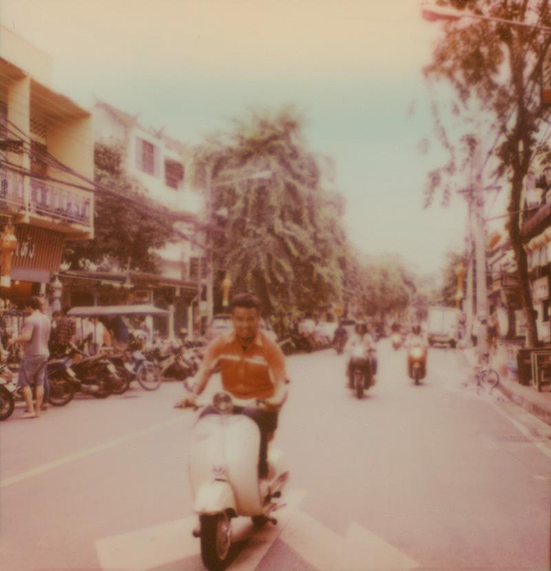 Motorbike traffic in Chiang Mai, Thailand | SLR680 Polaroid