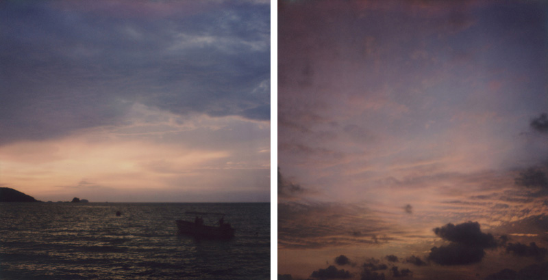 Two sunsets on Koh Mak in the Gulf of Thailand | SLR680 Polaroid