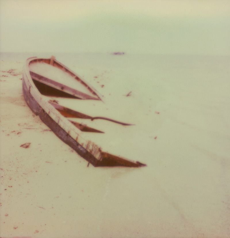 A shipwreck on the sands of Koh Mak in the Gulf of Thailand | SLR680 Polaroid