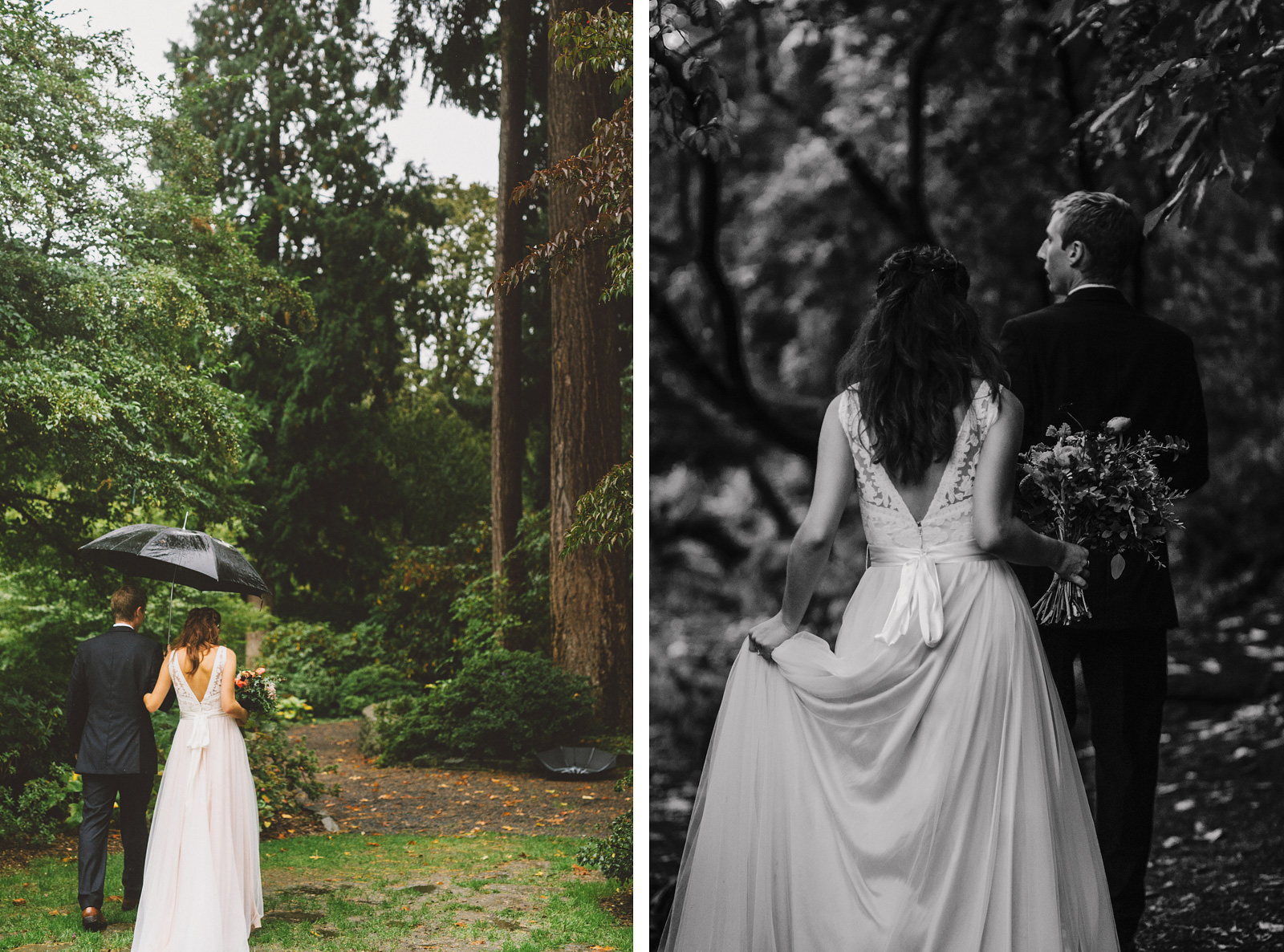 Bride and Groom's grand exit | Crystal Springs Rhododendron Garden wedding ceremony