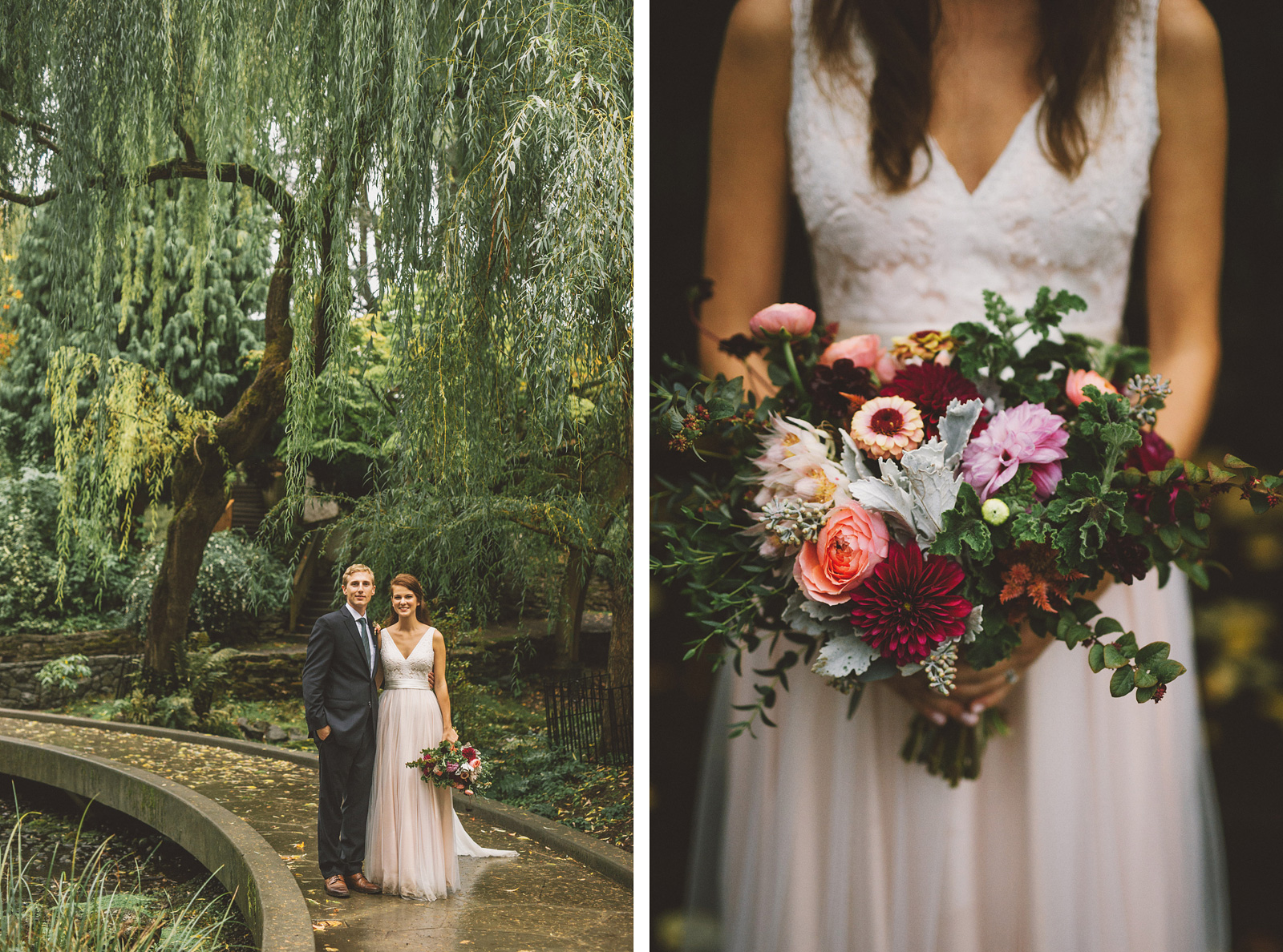 Portraits of Bride and Groom at Crystal Springs Rhododendron Garden