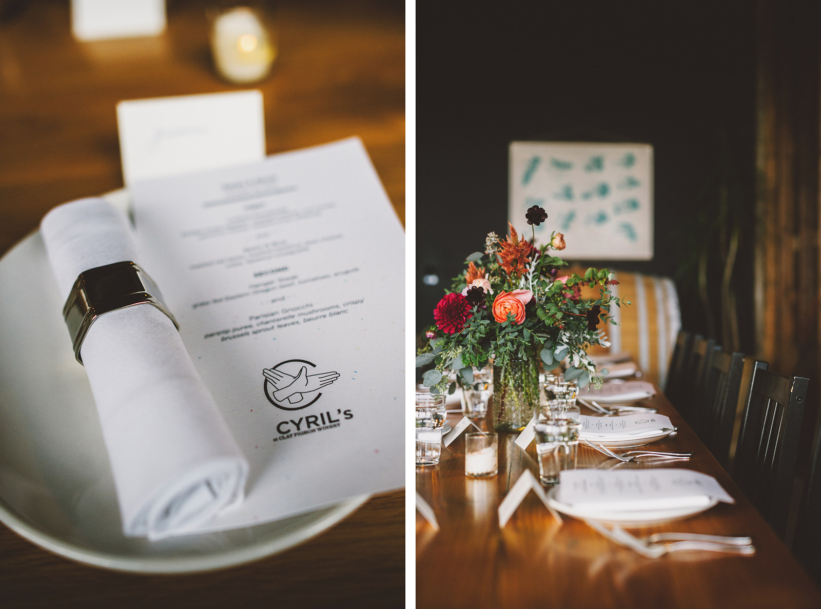 Table settings at a Clay Pigeon Winery wedding reception