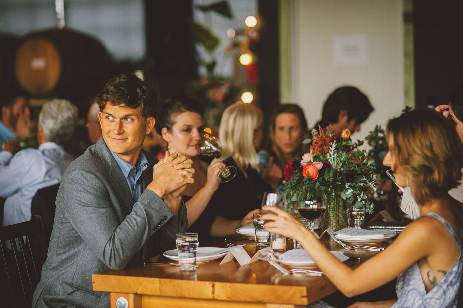 Guests mingling at a Clay Pigeon Winery wedding reception