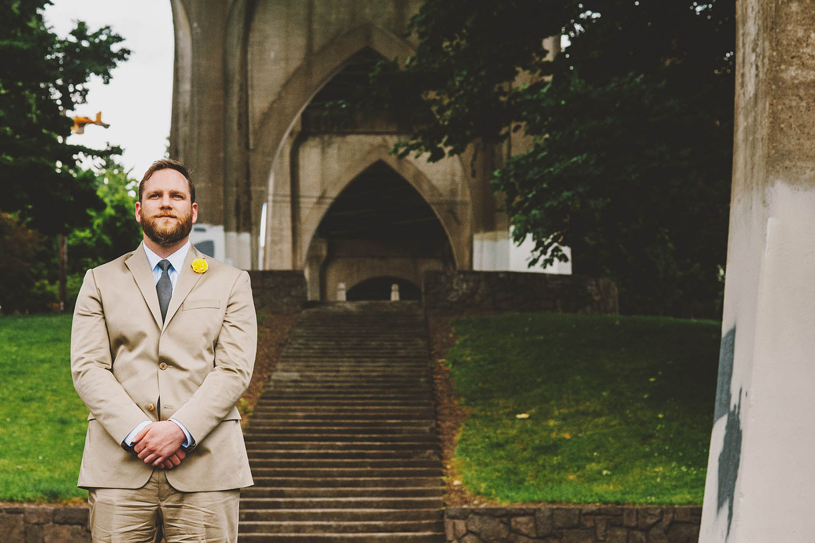 Groom waiting for the First Look | Cathedral Park Wedding