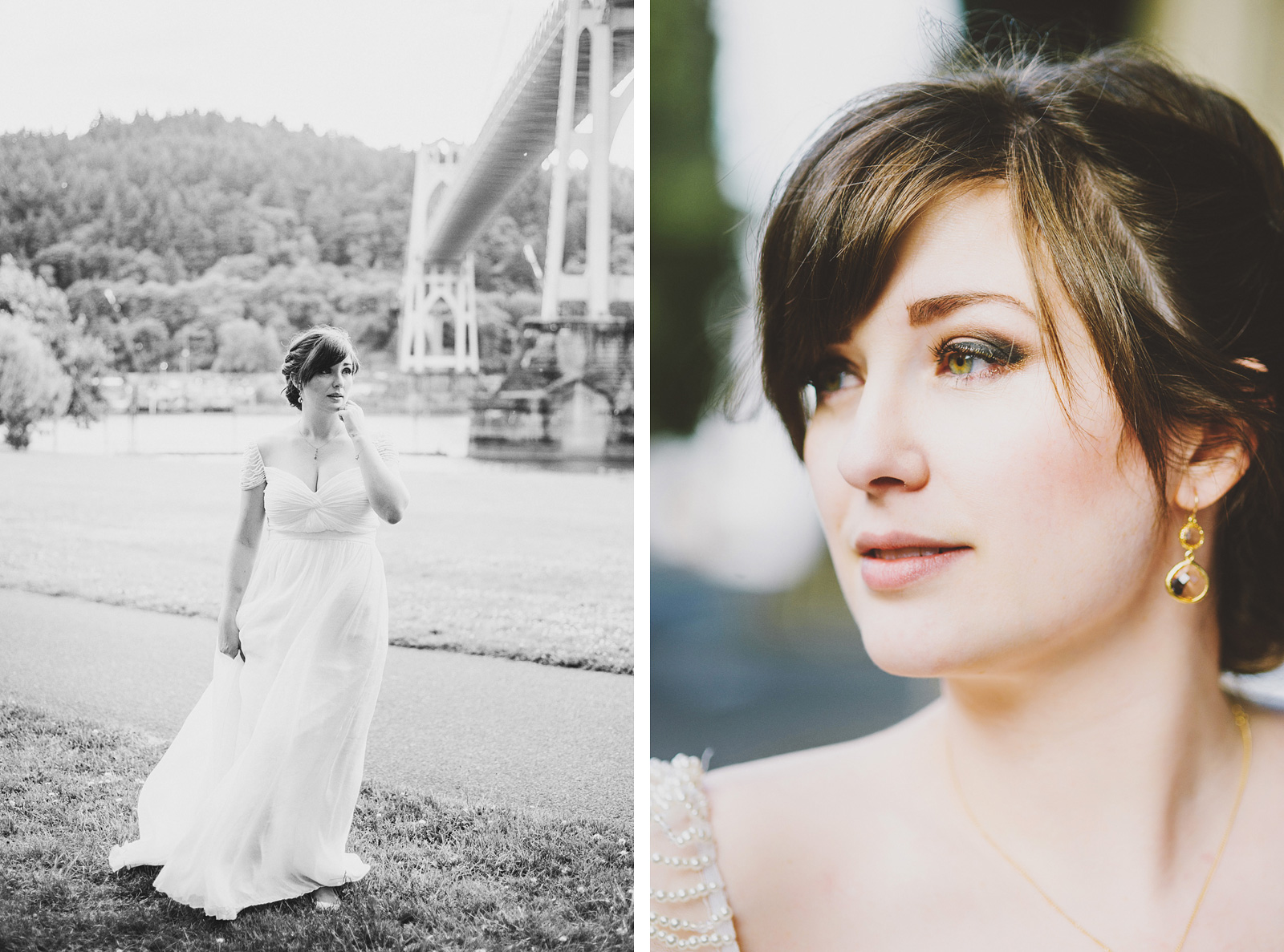 Portraits of bride under the St. Johns Bridge | Cathedral Park Wedding