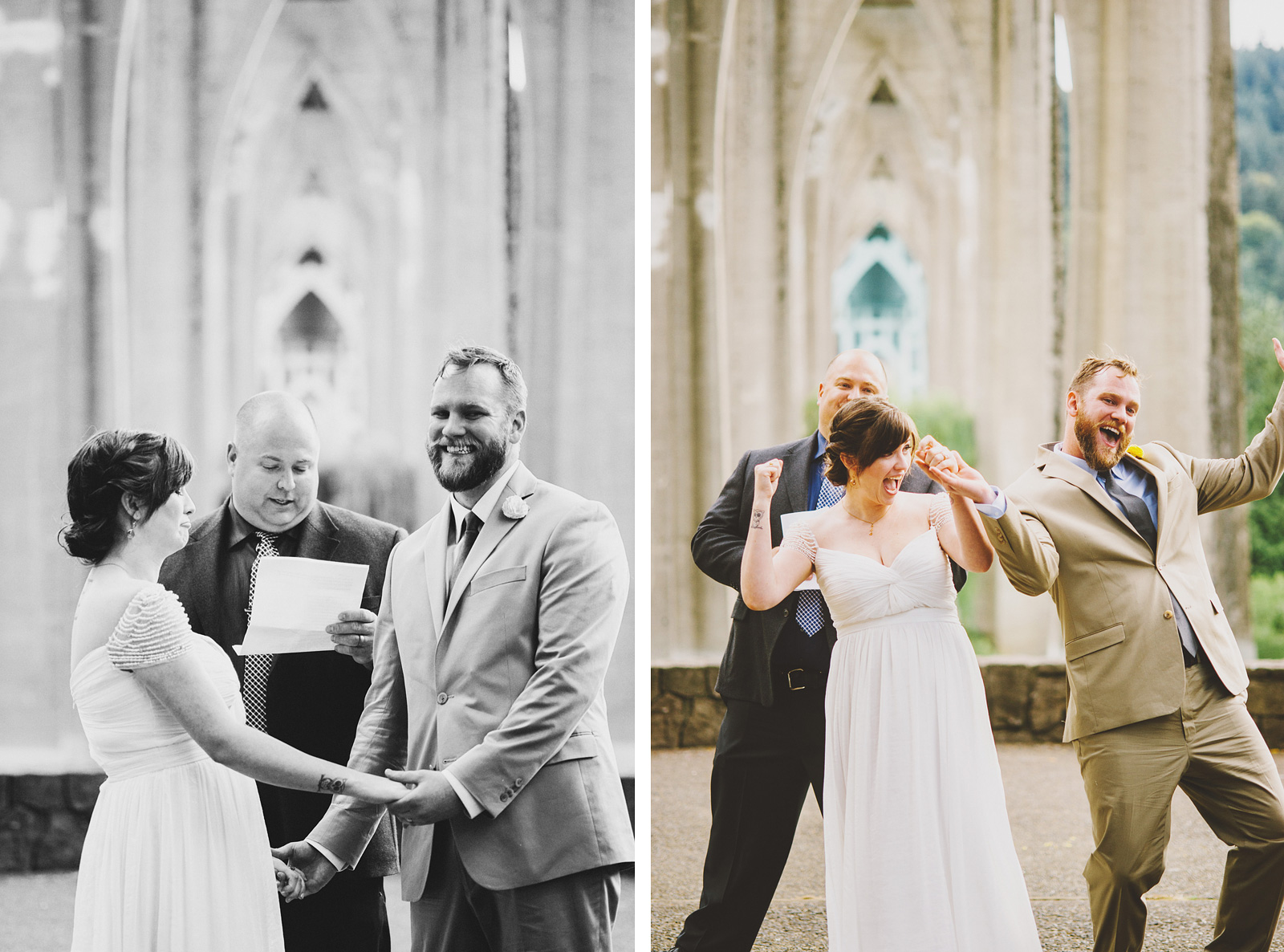 Bride and Groom rejoice at ceremony | Cathedral Park Wedding