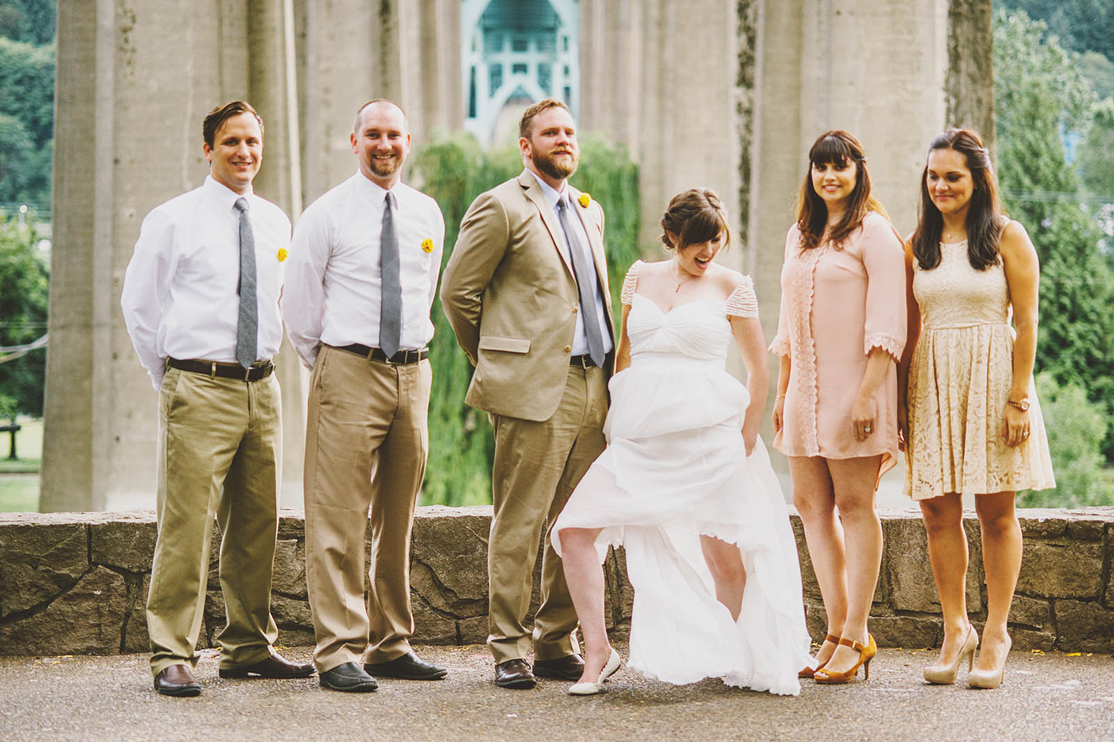 Bride getting goofy during formal portraits | Cathedral Park Wedding