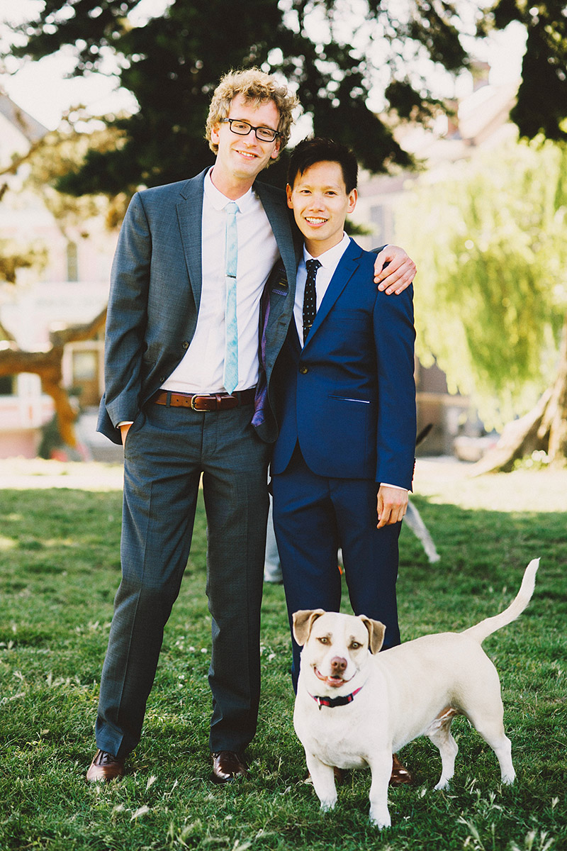 Foreign Cinema Wedding - Grooms and their dog, Otto, in Alamo Square Park