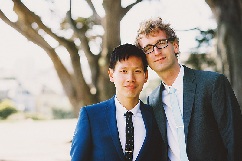Foreign Cinema Wedding - Portrait of the Grooms in Alamo Square Park