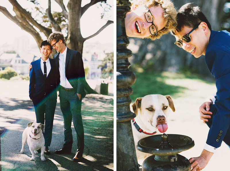 Foreign Cinema Wedding - Portraits of the Grooms and their dog, Otto, in Alamo Square