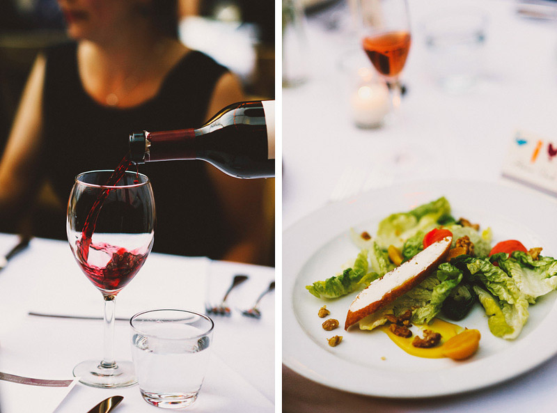 Wine and salads at a Foreign Cinema Wedding