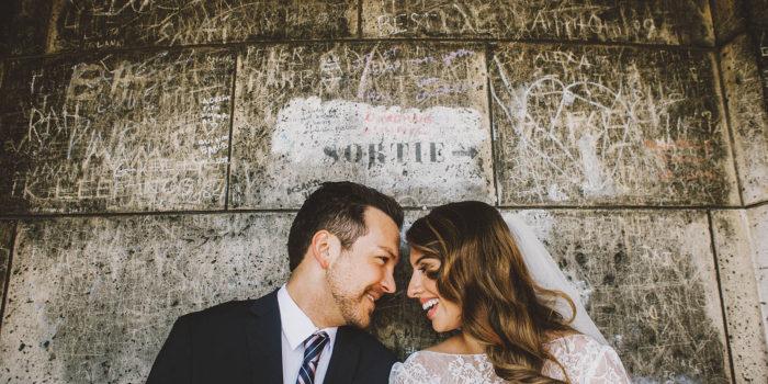 Bride and Groom inside the Sacre-Coeur | Springtime Paris Elopement at Parc des Buttes Chaumont