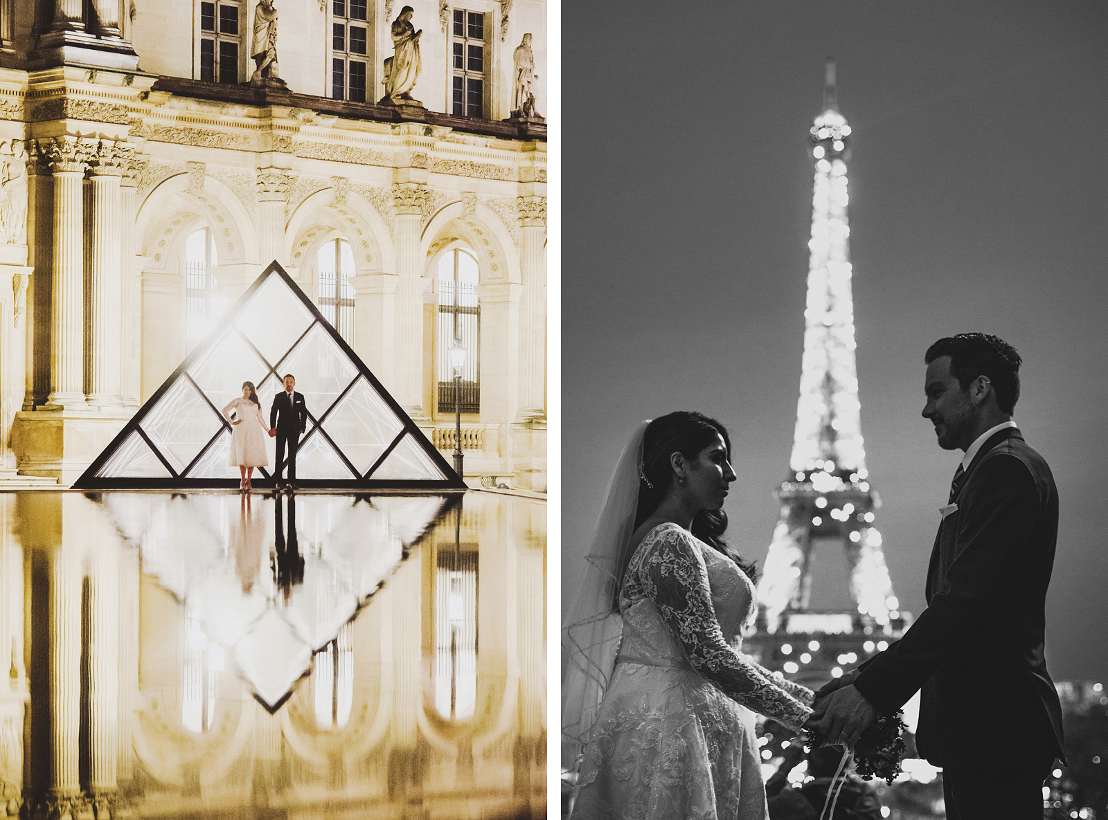 Night portraits at the Louvre and Eiffel Tower | Springtime Paris Elopement at Parc des Buttes Chaumont
