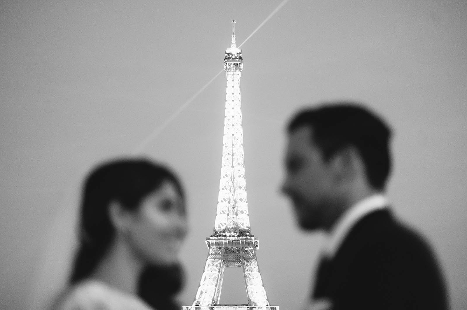Night portraits at the Eiffel Tower | Springtime Paris Elopement at Parc des Buttes Chaumont