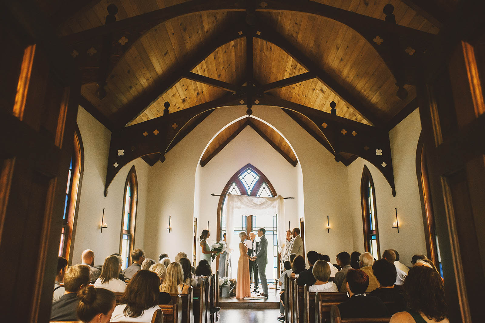 Orcas Island wedding ceremony in the Victorian Valley Chapel