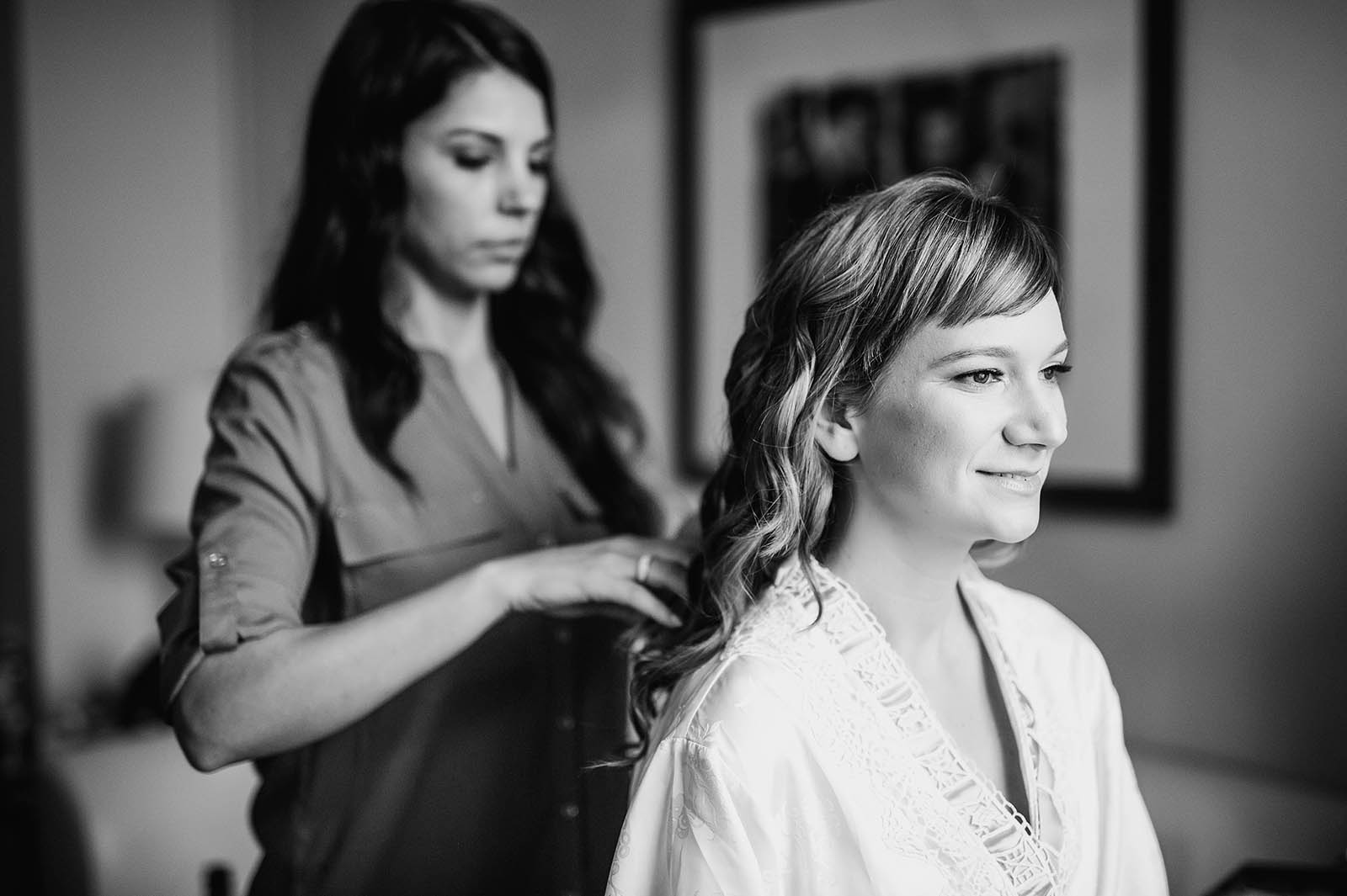 Bride getting ready at downtown Portland hotel  | Castaway Portland Wedding