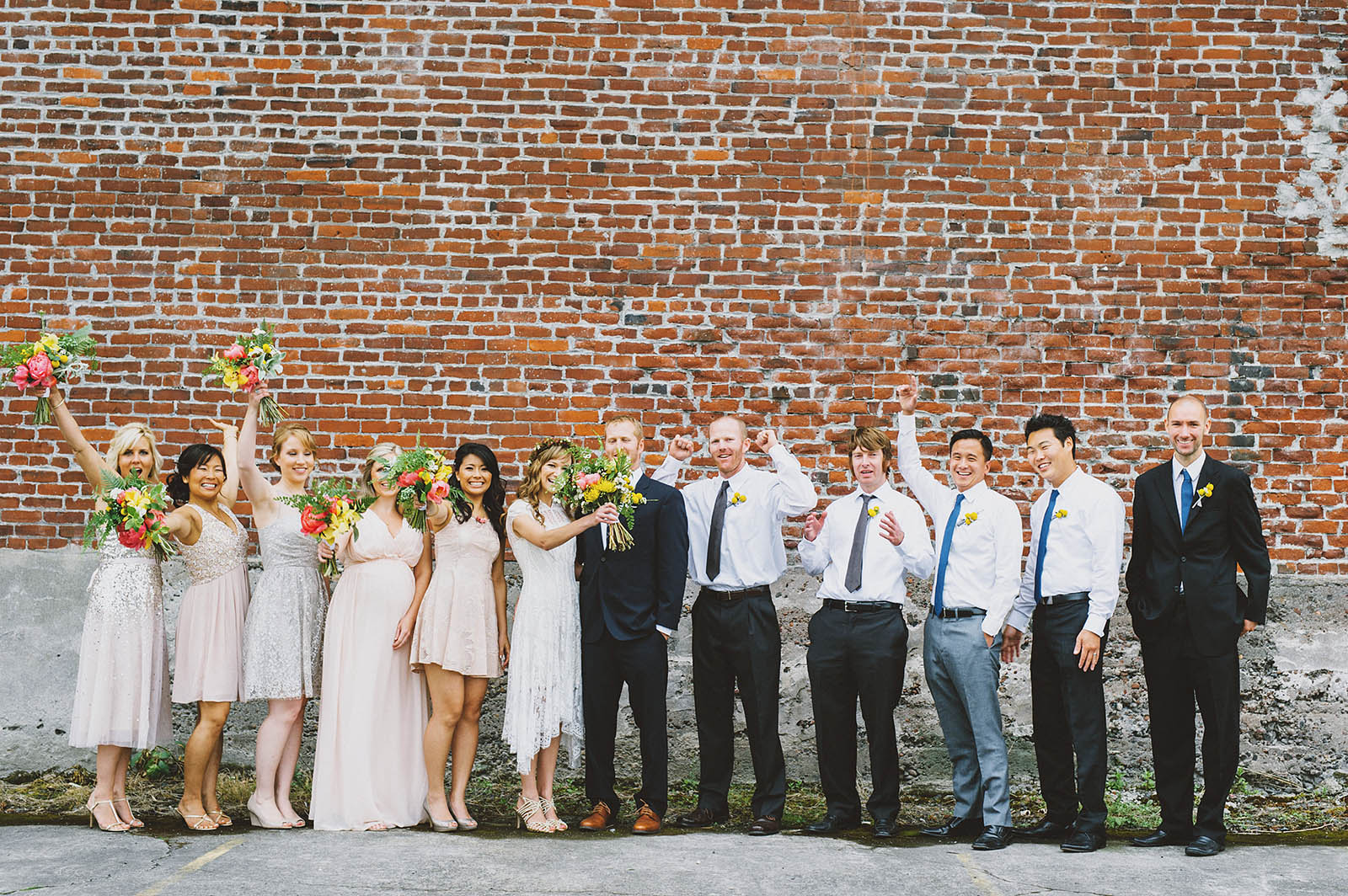 Wedding party cheering for the newlyweds | Castaway Portland Wedding